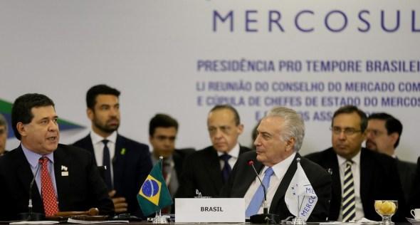 Presidente Temer em reunião da 51ª Cúpula de Chefes de Estado do Mercosul, em 2017.