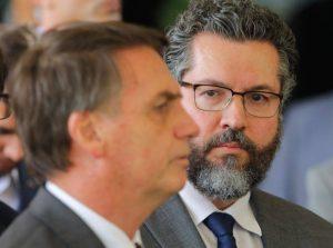 Ministro das Relações Exteriores Ernesto Araújo e Presidente Jair Bolsonaro. Foto: Sérgio Lima.